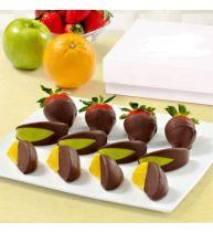 Клубника,апельсин,яблоки в шоколаде